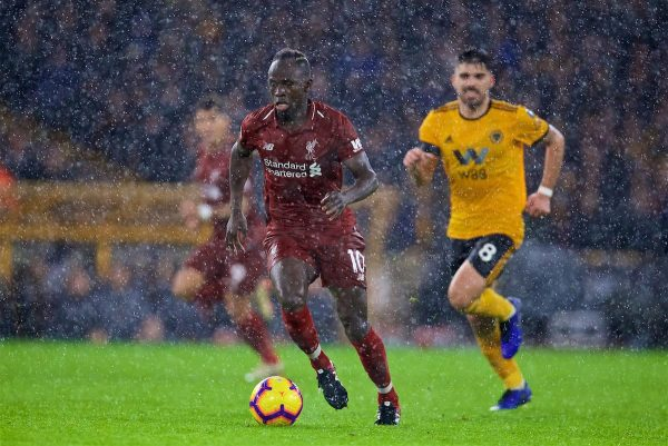 WOLVERHAMPTON, ENGLAND - Friday, December 21, 2018: Liverpool's Sadio Mane battles through the rain during the FA Premier League match between Wolverhampton Wanderers FC and Liverpool FC at Molineux Stadium. (Pic by David Rawcliffe/Propaganda)