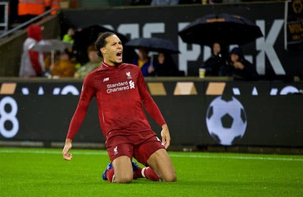 WOLVERHAMPTON, ENGLAND - Friday, December 21, 2018: Liverpool's Virgil van Dijk celebrates scoring the second goal during the FA Premier League match between Wolverhampton Wanderers FC and Liverpool FC at Molineux Stadium. (Pic by David Rawcliffe/Propaganda)