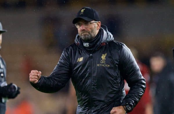 WOLVERHAMPTON, ENGLAND - Friday, December 21, 2018: Liverpool's manager J¸rgen Klopp celebrates after beating Wolverhampton Wanderers 2-0 during the FA Premier League match between Wolverhampton Wanderers FC and Liverpool FC at Molineux Stadium. (Pic by David Rawcliffe/Propaganda)