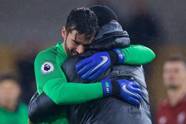 WOLVERHAMPTON, ENGLAND - Friday, December 21, 2018: Liverpool's goalkeeper Alisson Becker and manager J¸rgen Klopp embrace after the FA Premier League match between Wolverhampton Wanderers FC and Liverpool FC at Molineux Stadium. Liverpool won 2-0. (Pic by David Rawcliffe/Propaganda)