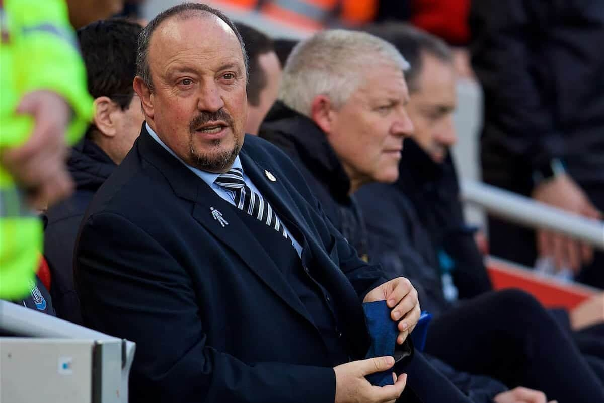 LIVERPOOL, ENGLAND - Boxing Day, Wednesday, December 26, 2018: Newcastle United's manager Rafael Benitez during the FA Premier League match between Liverpool FC and Newcastle United FC at Anfield. (Pic by David Rawcliffe/Propaganda)