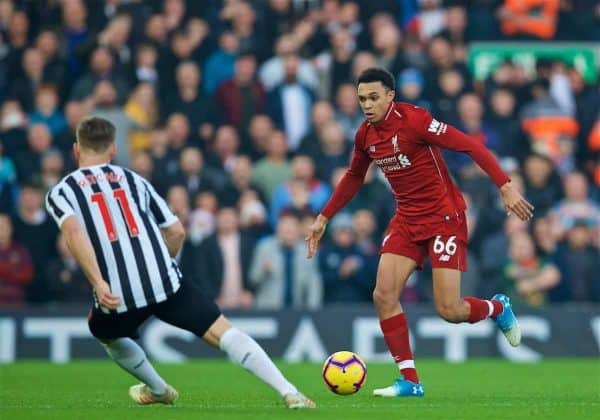 LIVERPOOL, ENGLAND - Boxing Day, Wednesday, December 26, 2018: Liverpool's Trent Alexander-Arnold during the FA Premier League match between Liverpool FC and Newcastle United FC at Anfield. (Pic by David Rawcliffe/Propaganda)