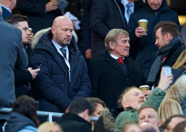 LIVERPOOL, ENGLAND - Boxing Day, Wednesday, December 26, 2018: Liverpool's non-executive director Kenny Dalglish and former Newcastle United player Alan Shearer during the FA Premier League match between Liverpool FC and Newcastle United FC at Anfield. (Pic by David Rawcliffe/Propaganda)