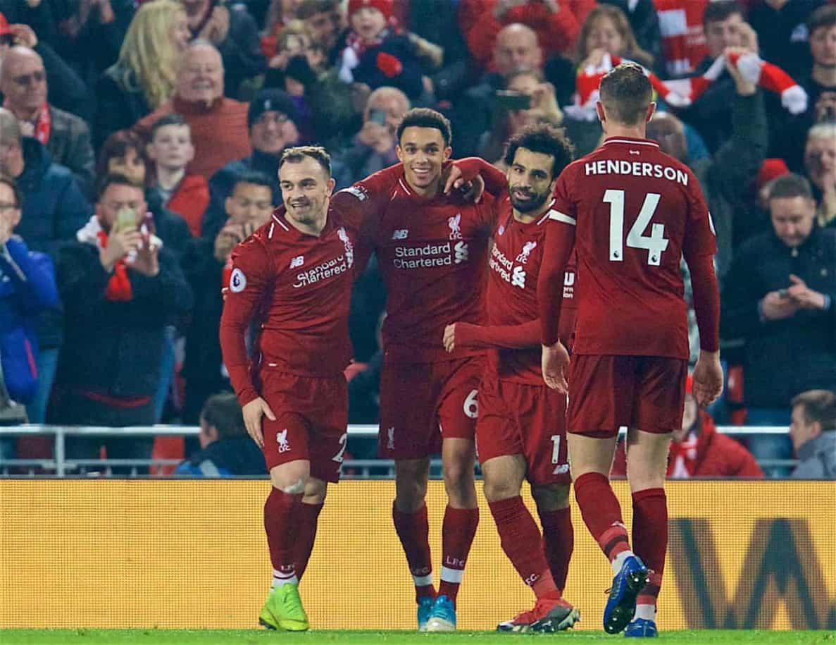 LIVERPOOL, ENGLAND - Boxing Day, Wednesday, December 26, 2018: Liverpool's Xherdan Shaqiri (L) celebrates scoring the third goal with team-mates Trent Alexander-Arnold (C) and Mohamed Salah (R) during the FA Premier League match between Liverpool FC and Newcastle United FC at Anfield. (Pic by David Rawcliffe/Propaganda)