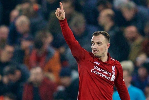 LIVERPOOL, ENGLAND - Boxing Day, Wednesday, December 26, 2018: Liverpool's Xherdan Shaqiri celebrates scoring the third goal during the FA Premier League match between Liverpool FC and Newcastle United FC at Anfield. (Pic by David Rawcliffe/Propaganda)