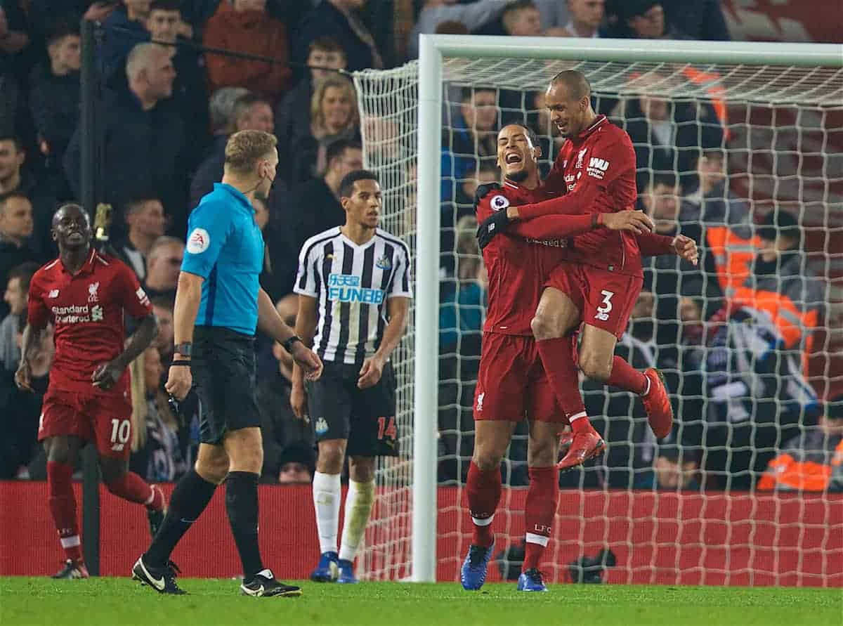 LIVERPOOL, ENGLAND - Boxing Day, Wednesday, December 26, 2018: Liverpool's Fabio Henrique Tavares 'Fabinho' celebrates scoring the fourth goal with team-mate Virgil van Dijk (L) during the FA Premier League match between Liverpool FC and Newcastle United FC at Anfield. (Pic by David Rawcliffe/Propaganda)