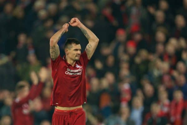 LIVERPOOL, ENGLAND - Boxing Day, Wednesday, December 26, 2018: Liverpool's goal-scorer Dejan Lovren celebrates after beating Newcastle United 4-0 during the FA Premier League match between Liverpool FC and Newcastle United FC at Anfield. (Pic by David Rawcliffe/Propaganda)