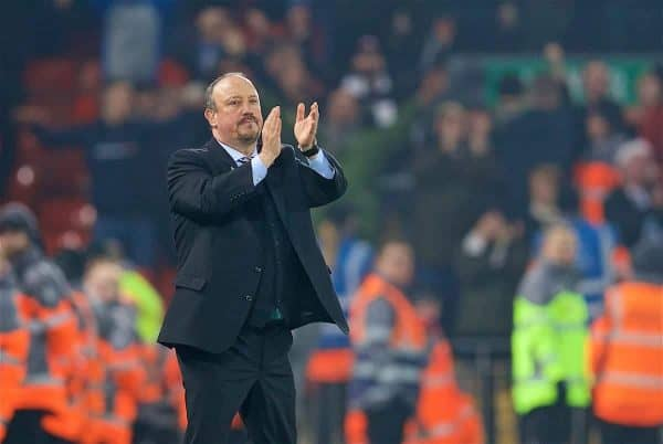 LIVERPOOL, ENGLAND - Boxing Day, Wednesday, December 26, 2018: Newcastle United's manager Rafael Benitez responds with applauds as the Liverpool supporters sing his name after during the FA Premier League match between Liverpool FC and Newcastle United FC at Anfield. Liverpool won 4-0. (Pic by David Rawcliffe/Propaganda)