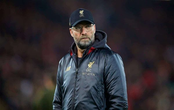 LIVERPOOL, ENGLAND - Saturday, December 29, 2018: Liverpool's manager Jürgen Klopp before the FA Premier League match between Liverpool FC and Arsenal FC at Anfield. (Pic by David Rawcliffe/Propaganda)