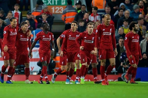 LIVERPOOL, ENGLAND - Saturday, December 29, 2018: Liverpool's Roberto Firmino celebrates scoring the second goal with team-mates during the FA Premier League match between Liverpool FC and Arsenal FC at Anfield. (Pic by David Rawcliffe/Propaganda)