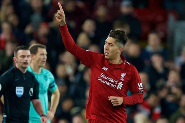 Liverpool's Roberto Firmino celebrates scoring the second goal during the FA Premier League match between Liverpool FC and Arsenal FC at Anfield. (Pic by David Rawcliffe/Propaganda)
