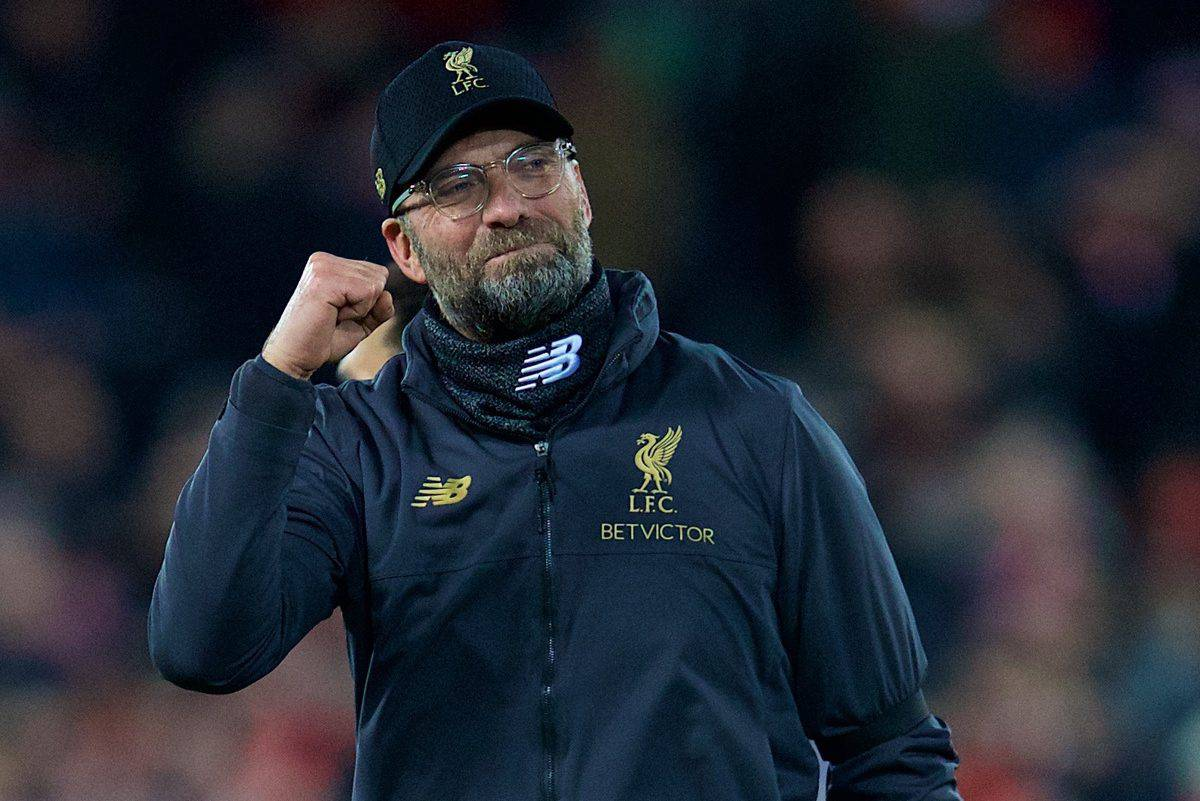 LIVERPOOL, ENGLAND - Saturday, December 29, 2018: Liverpool's manager J¸rgen Klopp celebrates after the 5-1 victory during the FA Premier League match between Liverpool FC and Arsenal FC at Anfield. (Pic by David Rawcliffe/Propaganda)