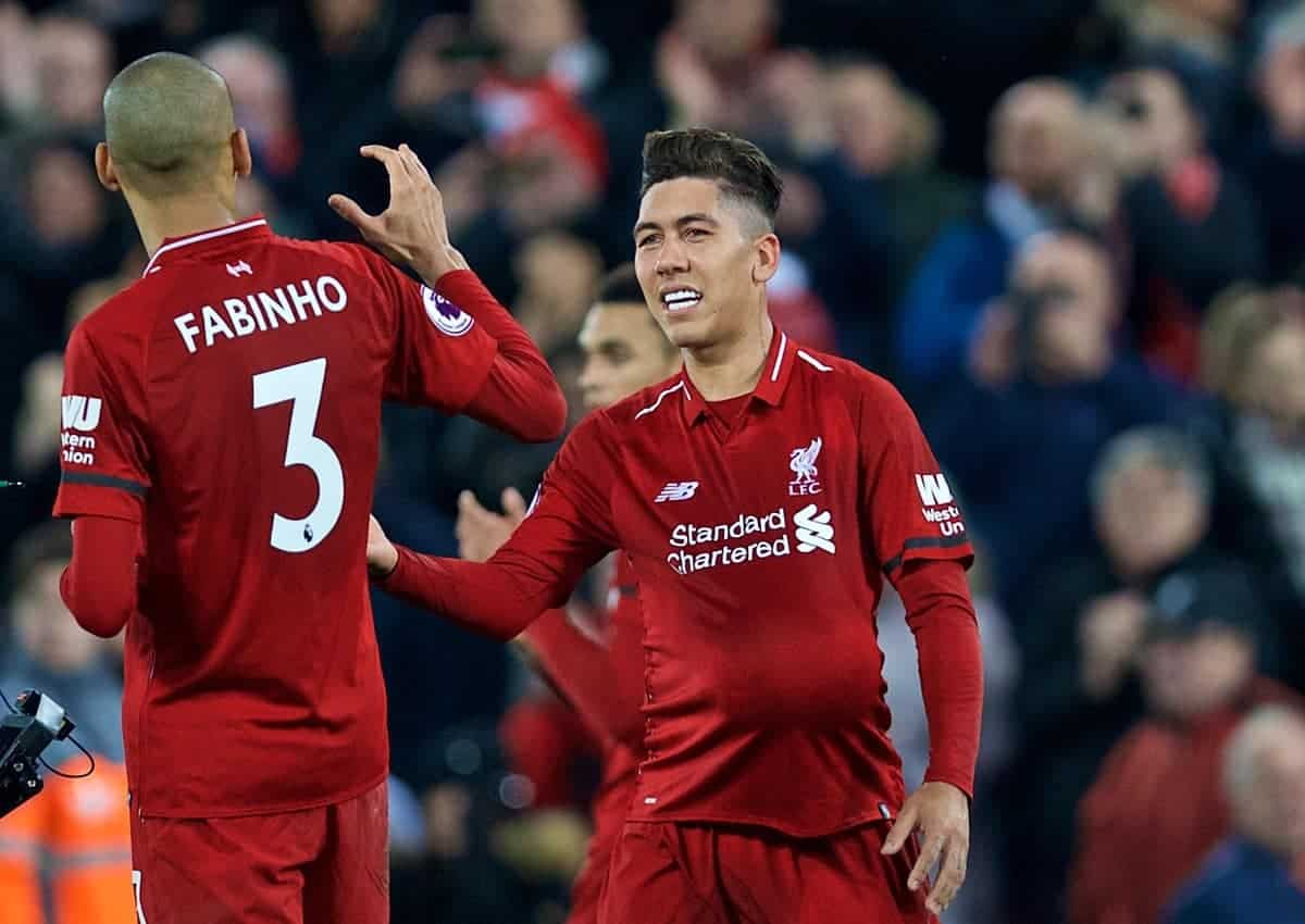 LIVERPOOL, ENGLAND - Saturday, December 29, 2018: Liverpool's hat-trick hero Roberto Firmino celebrates after the 5-1 victory during the FA Premier League match between Liverpool FC and Arsenal FC at Anfield. (Pic by David Rawcliffe/Propaganda)