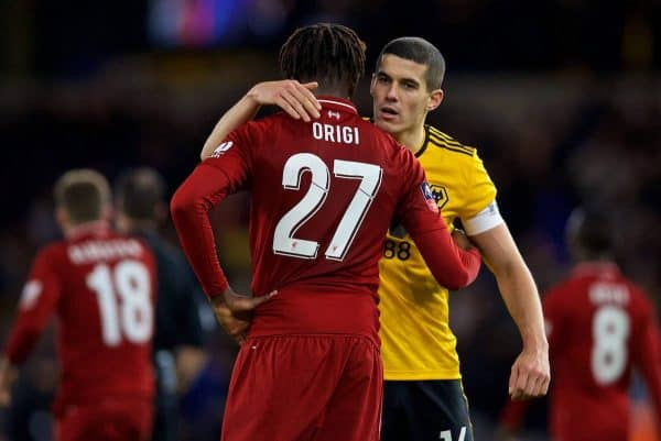 WOLVERHAMPTON, ENGLAND - Monday, January 7, 2019: Liverpool's Divock Origi (L) embraces Wolverhampton Wanderers' captain Conor Coady after the FA Cup 3rd Round match between Wolverhampton Wanderers FC and Liverpool FC at Molineux Stadium. Wolverhampton Wanderers won 2-1. (Pic by David Rawcliffe/Propaganda)