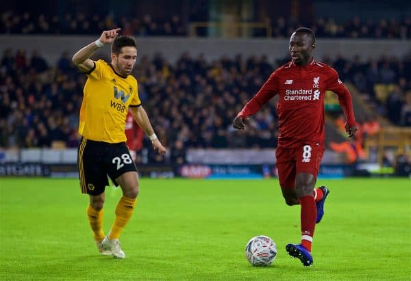 WOLVERHAMPTON, ENGLAND - Monday, January 7, 2019: Wolverhampton Wanderers' João Moutinho (L) and Liverpool's Naby Keita (R) during the FA Cup 3rd Round match between Wolverhampton Wanderers FC and Liverpool FC at Molineux Stadium. (Pic by David Rawcliffe/Propaganda)
