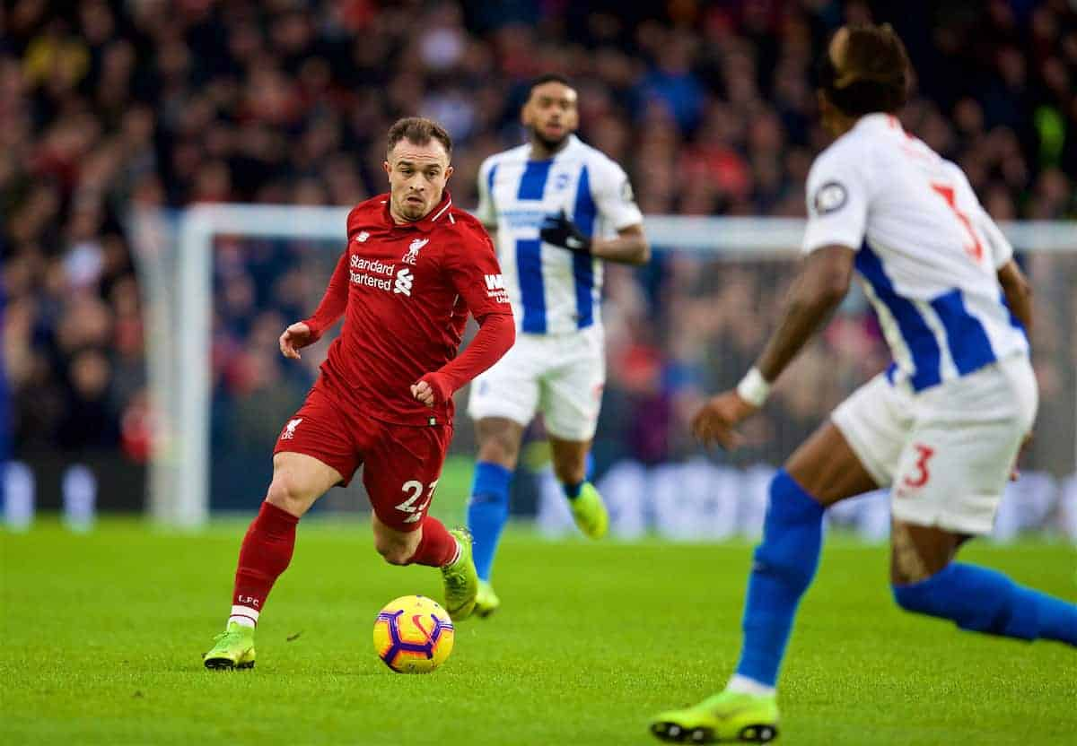 BRIGHTON AND HOVE, ENGLAND - Saturday, January 12, 2019: Liverpool's Sheridan Shaqiri during the FA Premier League match between Brighton & Hove Albion FC and Liverpool FC at the American Express Community Stadium. (Pic by David Rawcliffe/Propaganda)