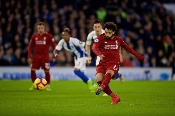 BRIGHTON AND HOVE, ENGLAND - Saturday, January 12, 2019: Liverpool's Mohamed Salah scores the first goal from a penalty kick during the FA Premier League match between Brighton & Hove Albion FC and Liverpool FC at the American Express Community Stadium. (Pic by David Rawcliffe/Propaganda)
