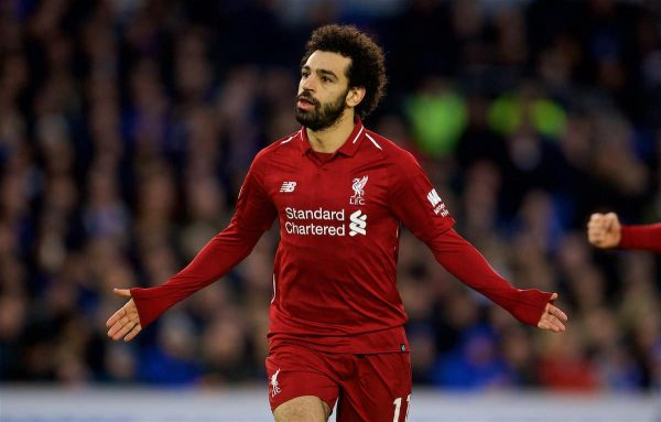 BRIGHTON AND HOVE, ENGLAND - Saturday, January 12, 2019: Liverpool's Mohamed Salah celebrates scoring the first goal from the penalty kick during the FA Premier League match between Brighton & Hove Albion FC and Liverpool FC at the American Express Community Stadium. (Pic by David Rawcliffe/Propaganda)