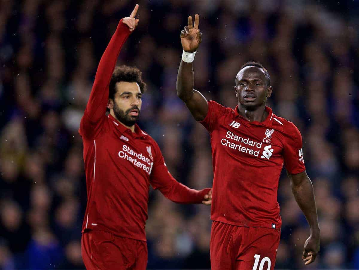 BRIGHTON AND HOVE, ENGLAND - Saturday, January 12, 2019: Liverpool's Mohamed Salah (L) and Said Mane during the FA Premier League match between Brighton & Hove Albion FC and Liverpool FC at the American Express Community Stadium. (Pic by David Rawcliffe/Propaganda)