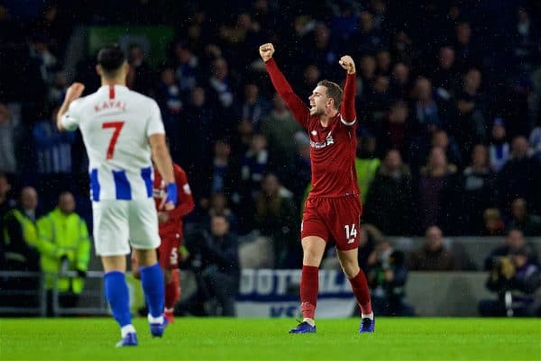 BRIGHTON AND HOVE, ENGLAND - Saturday, January 12, 2019: Liverpool's captain Jordan Henderson celebrates victory over Brighton & Hove Albion after the FA Premier League match between Brighton & Hove Albion FC and Liverpool FC at the American Express Community Stadium. Liverpool won 1-0. (Pic by David Rawcliffe/Propaganda)