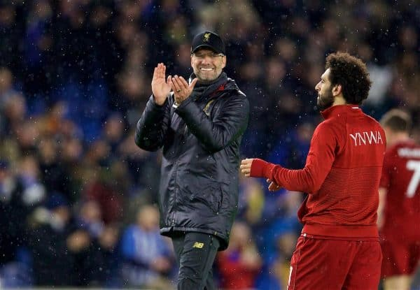 BRIGHTON AND HOVE, ENGLAND - Saturday, January 12, 2019: Liverpool's manager Jürgen Klopp applauses the supporters after the FA Premier League match between Brighton & Hove Albion FC and Liverpool FC at the American Express Community Stadium. Liverpool won 1-0. (Pic by David Rawcliffe/Propaganda)