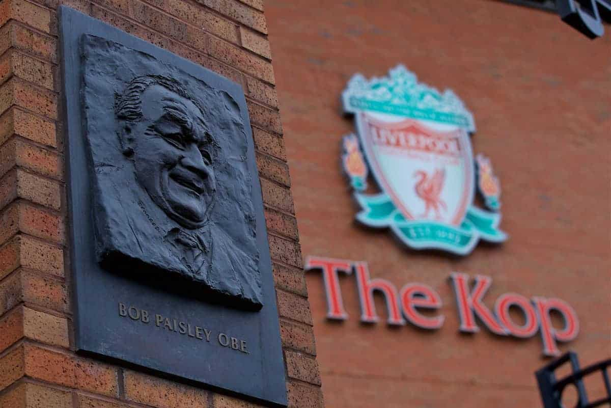 LIVERPOOL, ENGLAND - Saturday, January 19, 2019: An image of Bob Paisley on the Paisley gates outside Liverpool's Spion Kop stand paying tribute to the club's most successful manager ever, pictured on the anniversary of his 100th birthday, before the FA Premier League match between Liverpool FC and Crystal Palace FC at Anfield. (Pic by David Rawcliffe/Propaganda)
