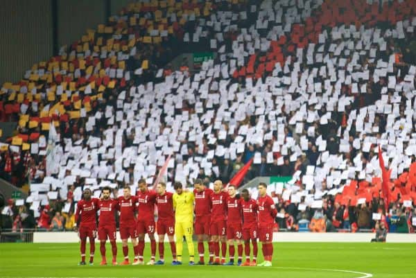 LIVERPOOL, ENGLAND - Saturday, January 19, 2019: Liverpool players stand for a minute to remember former player Peter Thompson before kick-off during the FA Premier League match between Liverpool FC and Crystal Palace FC at Anfield. (Pic by David Rawcliffe/Propaganda)