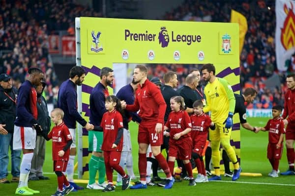 LIVERPOOL, ENGLAND - Saturday, January 19, 2019: Liverpool's captain Jordan Henderson shakes hands with Crystal Palace's goalkeeper Juli·n Speroni during the FA Premier League match between Liverpool FC and Crystal Palace FC at Anfield. (Pic by David Rawcliffe/Propaganda)