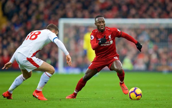 LIVERPOOL, ENGLAND - Saturday, January 19, 2019: Liverpool's Naby Keita during the FA Premier League match between Liverpool FC and Crystal Palace FC at Anfield. (Pic by David Rawcliffe/Propaganda)