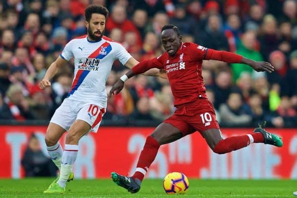 LIVERPOOL, ENGLAND - Saturday, January 19, 2019: Crystal Palace's Andros Townsend (L) and Liverpool's Said Mane (R) during the FA Premier League match between Liverpool FC and Crystal Palace FC at Anfield. (Pic by David Rawcliffe/Propaganda)