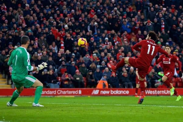LIVERPOOL, ENGLAND - Saturday, January 19, 2019: Liverpool's Mohamed Salah scores the first equalising goal during the FA Premier League match between Liverpool FC and Crystal Palace FC at Anfield. (Pic by David Rawcliffe/Propaganda)