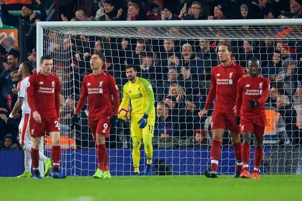 LIVERPOOL, ENGLAND - Saturday, January 19, 2019: Liverpool's goalkeeper Alisson Becker looks dejected as Crystal Palace scored the second goal during the FA Premier League match between Liverpool FC and Crystal Palace FC at Anfield. (Pic by David Rawcliffe/Propaganda)