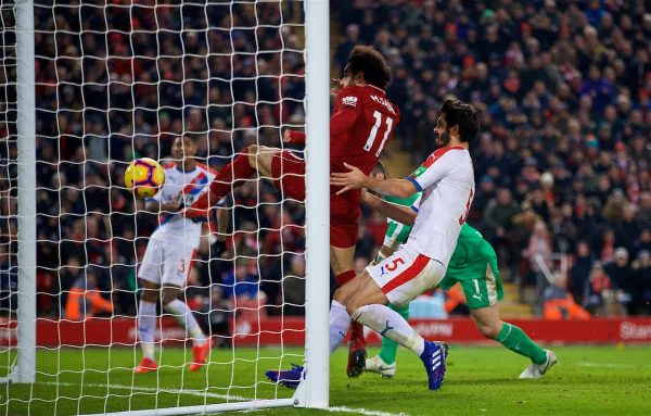 LIVERPOOL, ENGLAND - Saturday, January 19, 2019: Liverpool's Mohamed Salah scores the third goal during the FA Premier League match between Liverpool FC and Crystal Palace FC at Anfield. (Pic by David Rawcliffe/Propaganda)