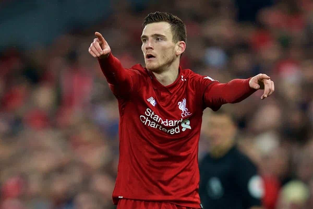 LIVERPOOL, ENGLAND - Saturday, January 19, 2019: Liverpool's Andy Robertson during the FA Premier League match between Liverpool FC and Crystal Palace FC at Anfield. (Pic by David Rawcliffe/Propaganda)
