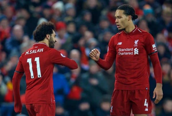 Liverpool's Mohamed Salah (L) and Virgil van Dijk during the FA Premier League match between Liverpool FC and Crystal Palace FC at Anfield. (Pic by David Rawcliffe/Propaganda)