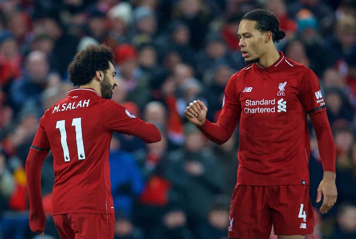 LIVERPOOL, ENGLAND - Saturday, January 19, 2019: Liverpool's Mohamed Salah (L) and Virgil van Dijk during the FA Premier League match between Liverpool FC and Crystal Palace FC at Anfield. (Pic by David Rawcliffe/Propaganda)