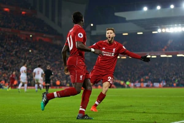 LIVERPOOL, ENGLAND - Saturday, January 19, 2019: Liverpool's Sadio Mane celebrates scoring the fourth goal with team-mate Adam Lallana during the FA Premier League match between Liverpool FC and Crystal Palace FC at Anfield. (Pic by David Rawcliffe/Propaganda)