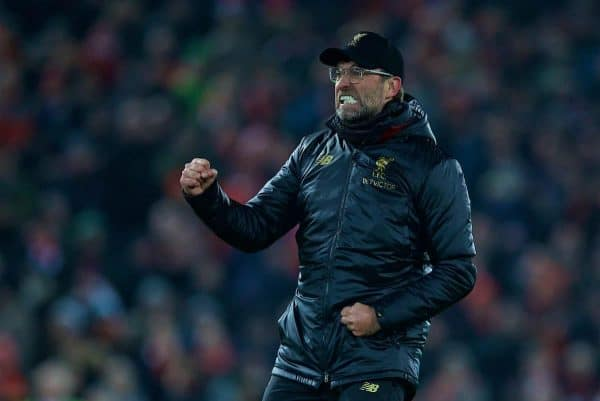 LIVERPOOL, ENGLAND - Saturday, January 19, 2019: Liverpool's manager Jürgen Klopp celebrates after the 4-3 victory over Crystal Palace during the FA Premier League match between Liverpool FC and Crystal Palace FC at Anfield. (Pic by David Rawcliffe/Propaganda)