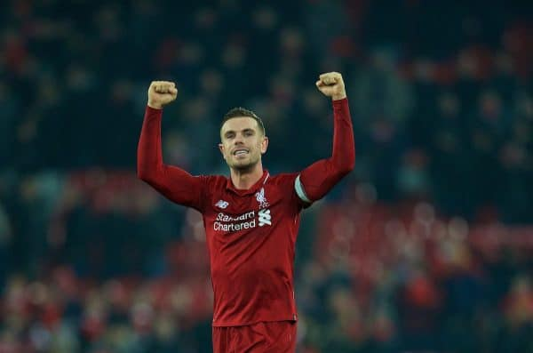 LIVERPOOL, ENGLAND - Saturday, January 19, 2019: Liverpool's captain Jordan Henderson celebrates after the 4-3 victory over Crystal Palace during the FA Premier League match between Liverpool FC and Crystal Palace FC at Anfield. (Pic by David Rawcliffe/Propaganda)