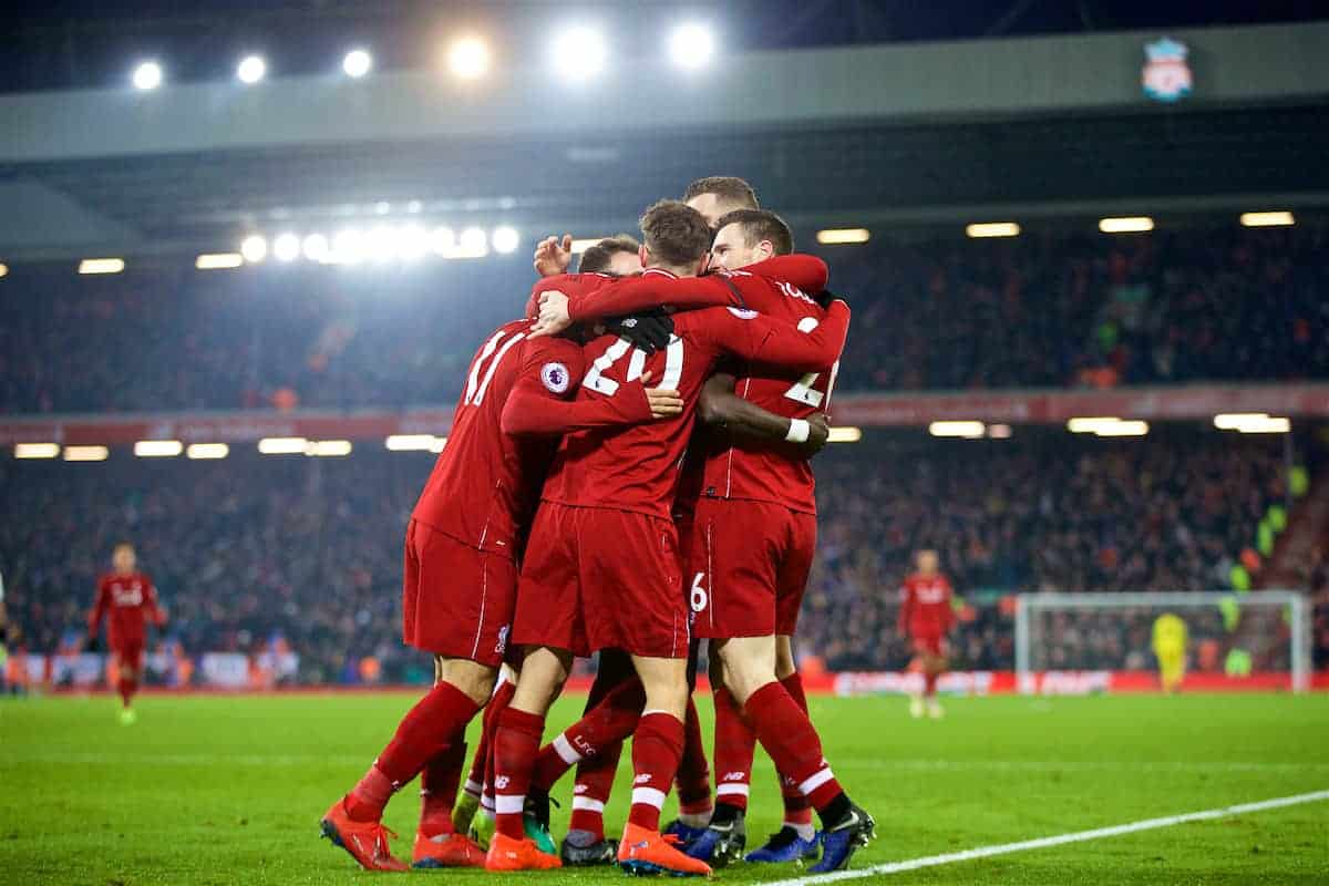 LIVERPOOL, ENGLAND - Saturday, January 19, 2019: Liverpool's Sadio Mane (hidden) celebrates scoring the fourth goal with team-mates during the FA Premier League match between Liverpool FC and Crystal Palace FC at Anfield. (Pic by David Rawcliffe/Propaganda)