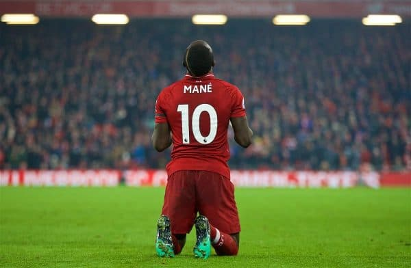 LIVERPOOL, ENGLAND - Saturday, January 19, 2019: Liverpool's Sadio Mane kneels to pray as he celebrates scoring the fourth goal during the FA Premier League match between Liverpool FC and Crystal Palace FC at Anfield. (Pic by David Rawcliffe/Propaganda)