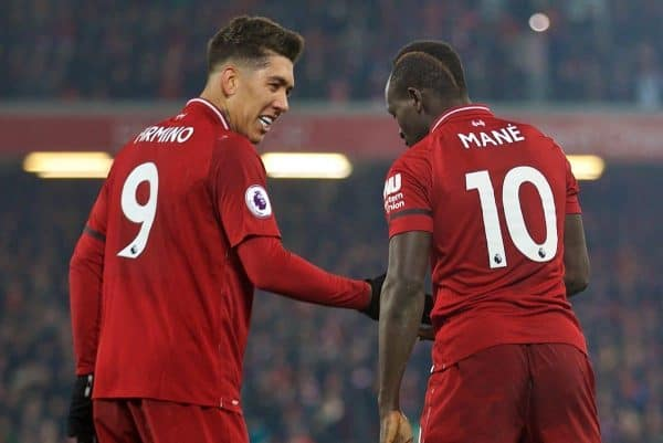LIVERPOOL, ENGLAND - Saturday, January 19, 2019: Liverpool's Sadio Mane (R) celebrates scoring the fourth goal with team-mate Roberto Firmino during the FA Premier League match between Liverpool FC and Crystal Palace FC at Anfield. (Pic by David Rawcliffe/Propaganda)