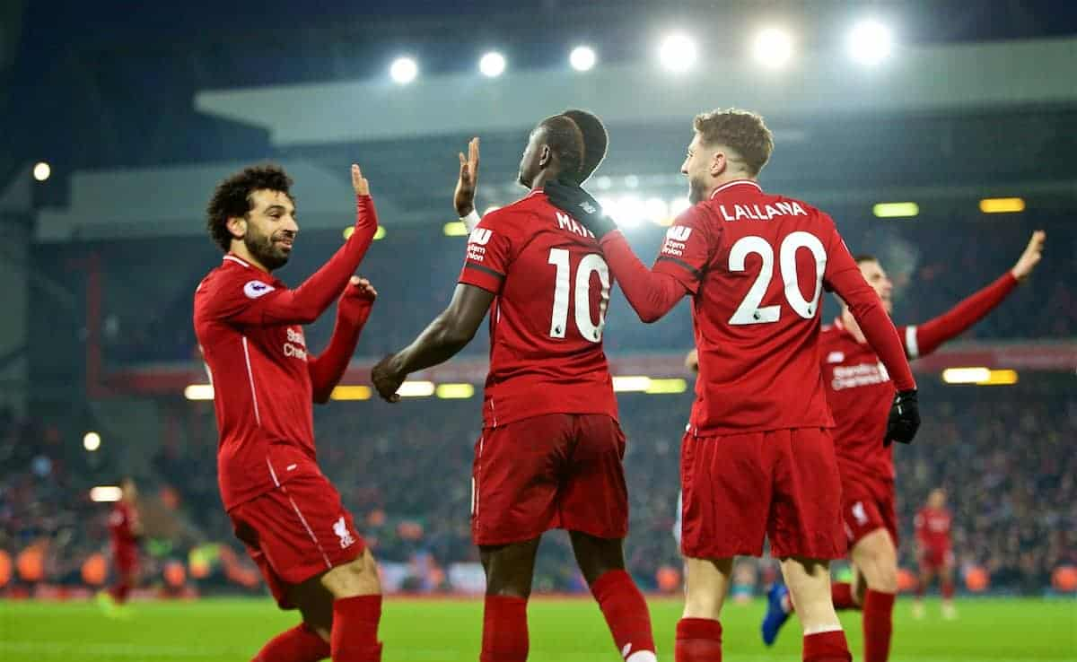 LIVERPOOL, ENGLAND - Saturday, January 19, 2019: Liverpool's Sadio Mane (#10) celebrates scoring the fourth goal with team-mates Mohamed Salah (L) and Adam Lallana (R) during the FA Premier League match between Liverpool FC and Crystal Palace FC at Anfield. (Pic by David Rawcliffe/Propaganda)