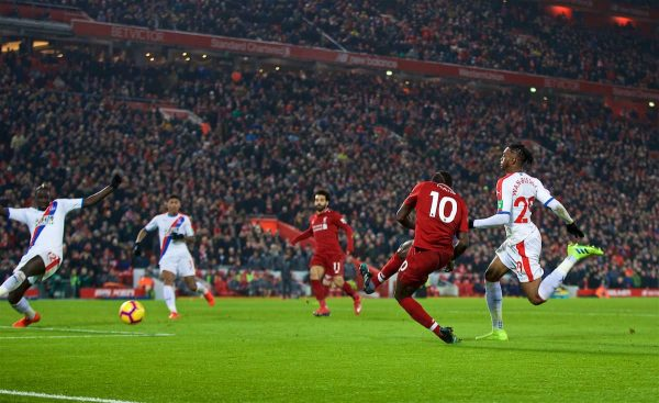 LIVERPOOL, ENGLAND - Saturday, January 19, 2019: Liverpool's Sadio Mane scores the fourth goal during the FA Premier League match between Liverpool FC and Crystal Palace FC at Anfield. (Pic by David Rawcliffe/Propaganda)