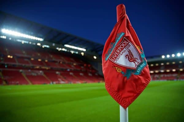 LIVERPOOL, ENGLAND - Wednesday, January 30, 2019: A general view of Liverpool's Anfield stadium and the corner flag before the FA Premier League match between Liverpool FC and Leicester City FC. (Pic by David Rawcliffe/Propaganda)