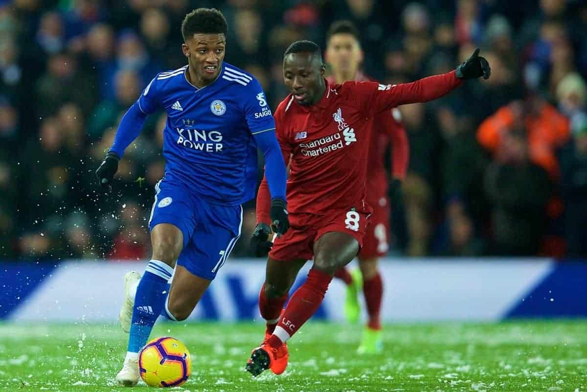 LIVERPOOL, ENGLAND - Wednesday, January 30, 2019: Liverpool's Baby Keita (R) during the FA Premier League match between Liverpool FC and Leicester City FC at Anfield. (Pic by David Rawcliffe/Propaganda)