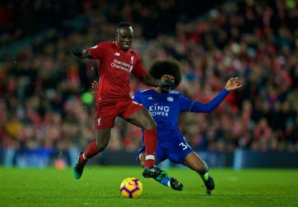 LIVERPOOL, ENGLAND - Wednesday, January 30, 2019: Liverpool's Sadio Mane is fouled by Leicester City's Hamza Choudhury during the FA Premier League match between Liverpool FC and Leicester City FC at Anfield. (Pic by David Rawcliffe/Propaganda)