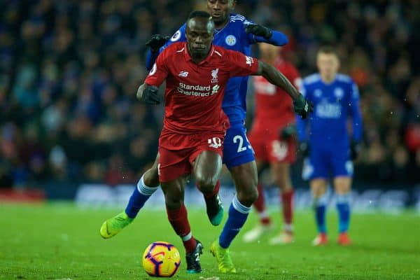 LIVERPOOL, ENGLAND - Wednesday, January 30, 2019: Liverpool's Sadio Mane and Leicester City's Wilfred Ndidi during the FA Premier League match between Liverpool FC and Leicester City FC at Anfield. (Pic by David Rawcliffe/Propaganda)