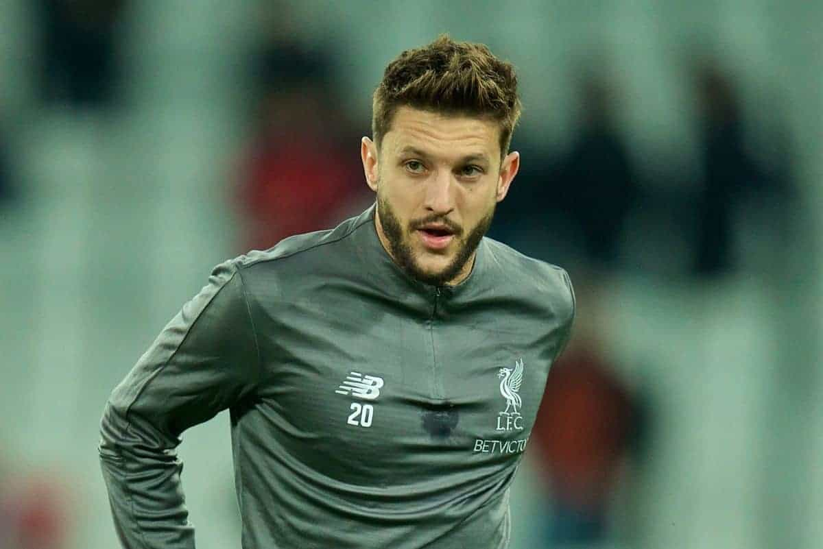 LONDON, ENGLAND - Monday, February 4, 2019: Liverpool's Adam Lallana during the pre-match warm-up before the FA Premier League match between West Ham United FC and Liverpool FC at the London Stadium. (Pic by David Rawcliffe/Propaganda)