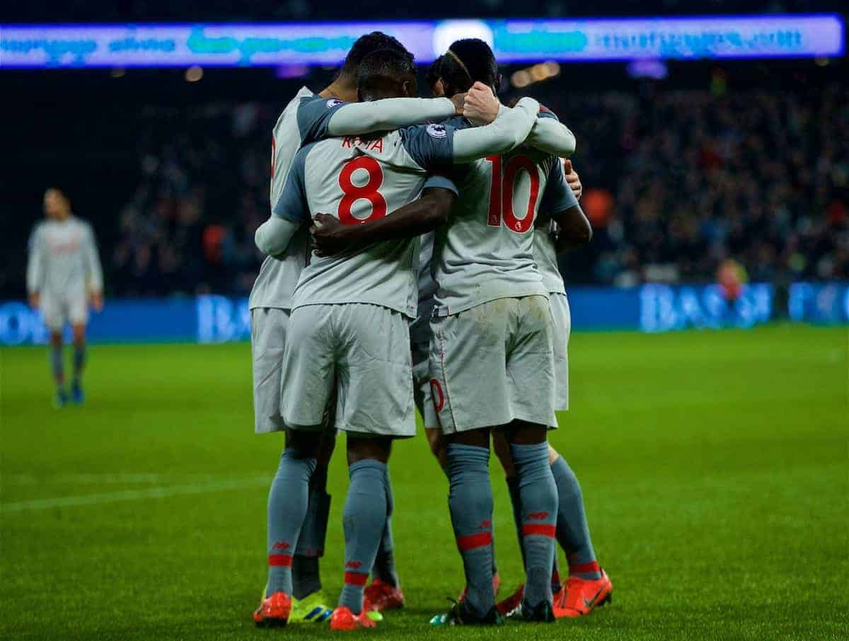 LONDON, ENGLAND - Monday, February 4, 2019: Liverpool's Sadio Mane celebrates scoring the first goal with team-mates during the FA Premier League match between West Ham United FC and Liverpool FC at the London Stadium. (Pic by David Rawcliffe/Propaganda)